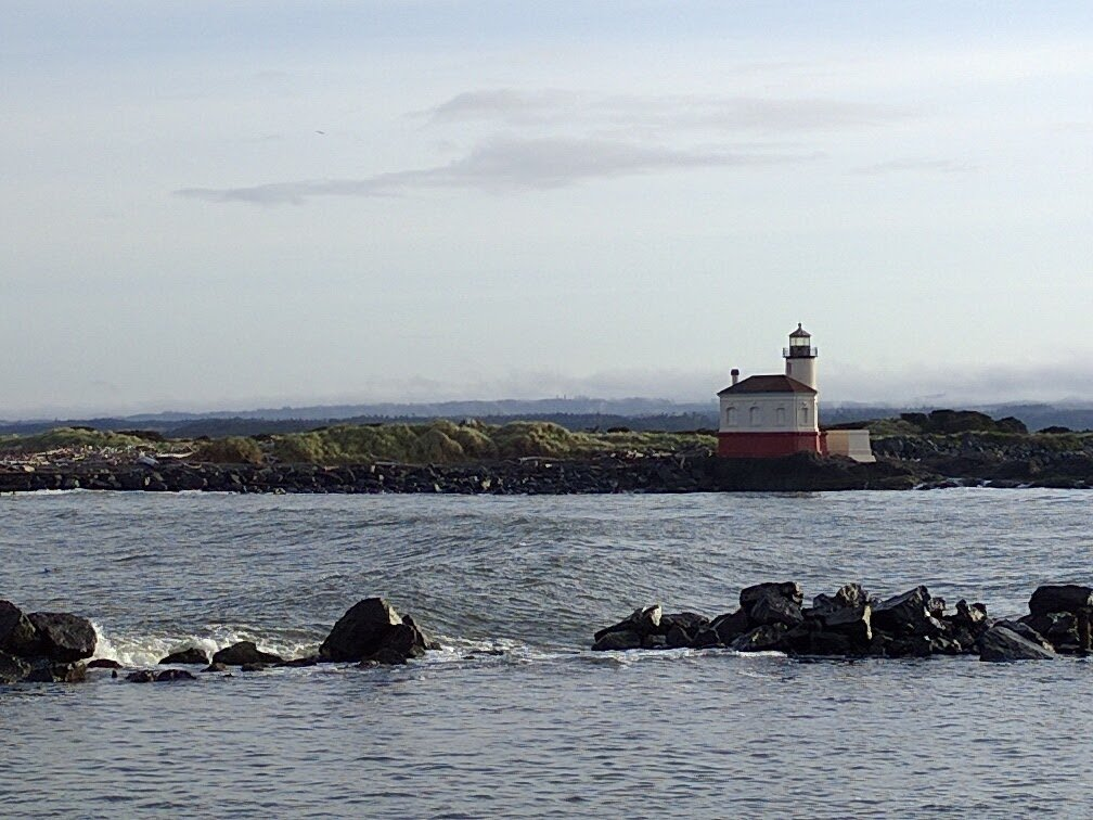 Just across the river is the Bandon lighthouse.